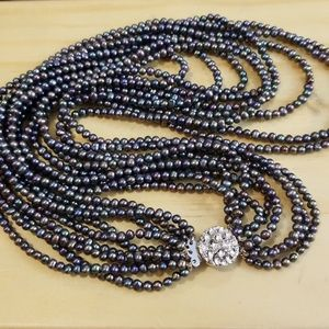Authentic Multi-Strand (9) Small Tahitian Pearls